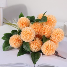Xuanxiaotong 5pcs/set Yellow Hydrangea Head Artificial Flowers Bouquet Large Ball Silk Fall Home Party Decor