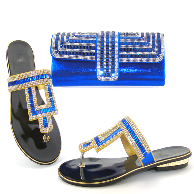 ФОТО Italian Shoes with Matching Bags Italian Royal Blue High Heels Shoes Matching Shoes and Bags for African Wedding Dress THS17-07
