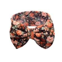 Babi floral hair elastic bands ribbon bows kids infnt babi girs head wraps accessory headbands satin flower hairband headwrap