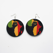 60mm Africa Map Wood African Colorful Black Queen Afro Flower Earrings Vintage Bohemia Party Club Jewelry Wooden DIY Accessories