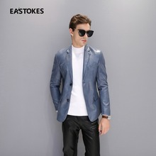 Men Slim Cut Leather Jackets Man Leather Windbreaker Notch Lapel Suit Casual Faux Leather Outerwears Mid-Length Jacket Outerwear