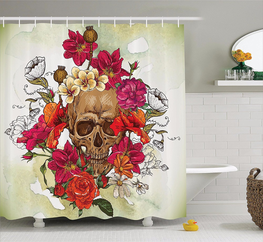 High Quality Arts Shower Curtains Skull Head Series Pink Flower Red Rose Watercolor Painting Bathroom Decorative Shower Curtains