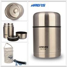 Haers isolierte nahrung jar mit tasche 600 ml edelstahl isolierte lebensmittelbehälter vakuum lunchbox thermos für kinder hth-600a