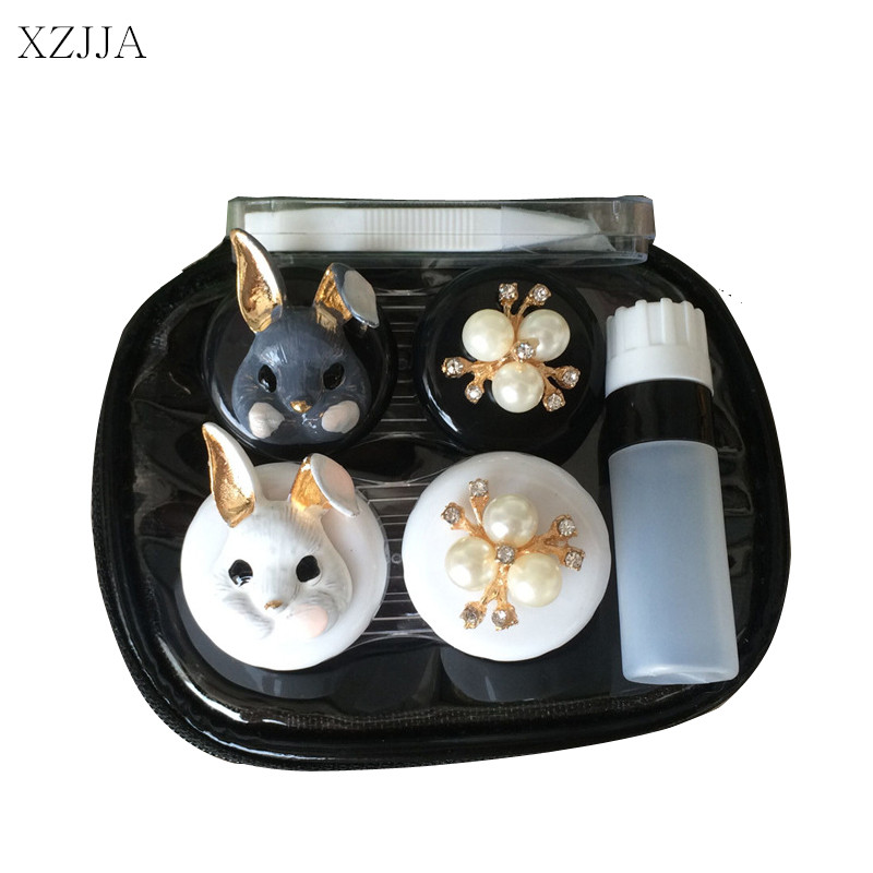 XZJJA 2017 Women Contact Lenses Storage Box Cartoon Rabbit Contact lens Box Eyes Care Kit Holder Travel Washer Cleaner Container