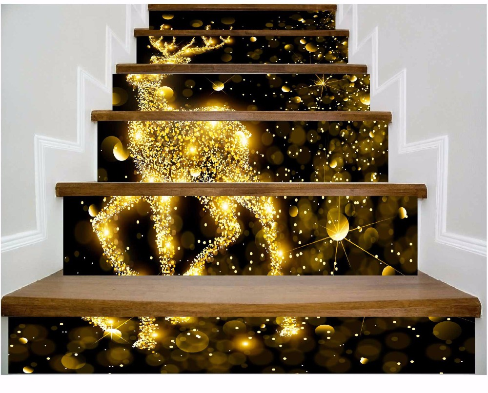 6pcs/set 18cm X 100cm Golden Deer Sparkling Stairs Wall Sticker Wallpaper LTT042