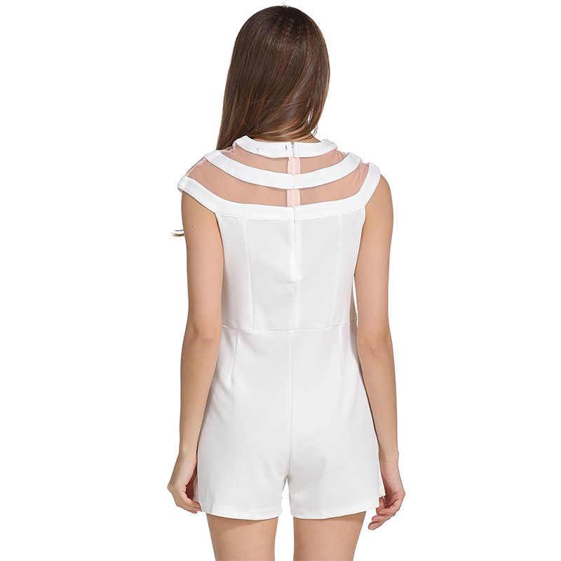 Willstage 2019 летние женские костюмы однотонные черные белые сетчатые сексуальные Лоскутные Комбинезоны повседневные боди Новинка Элегантные Комбинезоны