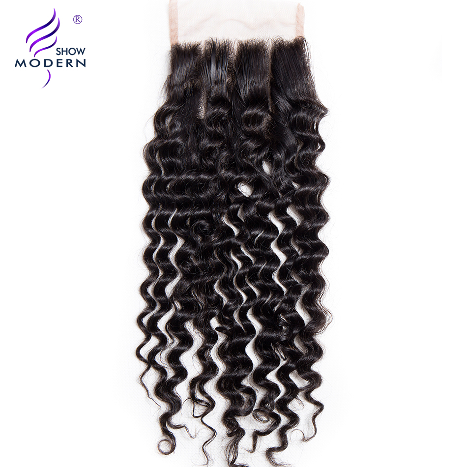 Modern Show Remy Hair 1Pcs 4 x4 Curly Lace Closure Three Part 130 Density Human Hair