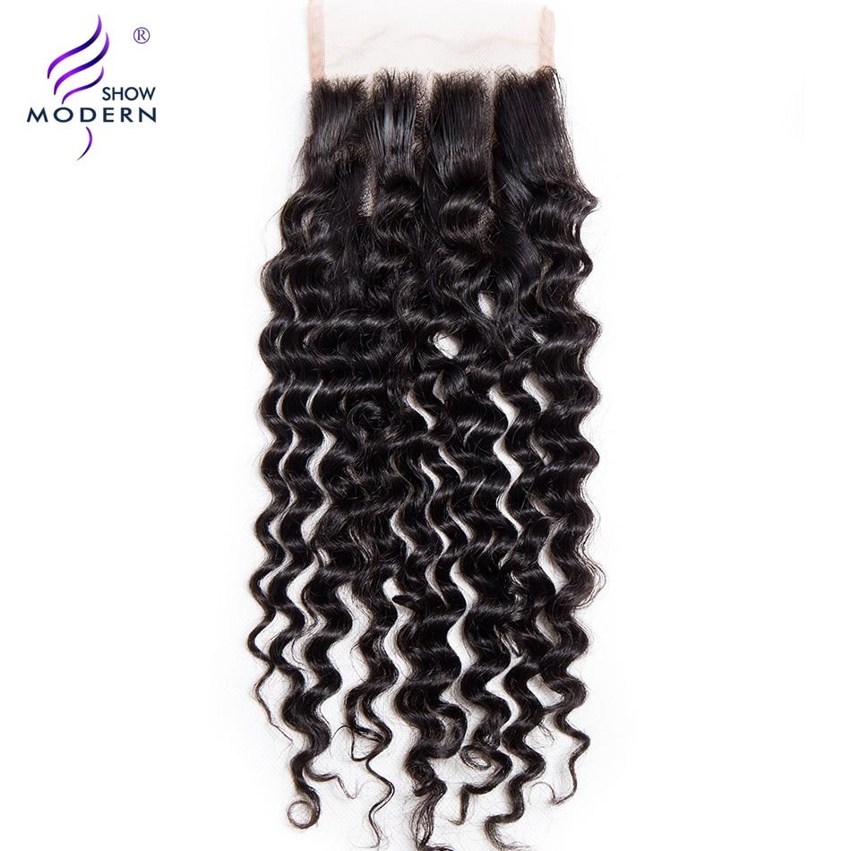 Modern Show Remy Hair 1Pcs 4 x4 Curly Lace Closure Three Part 130 Density Human Hair