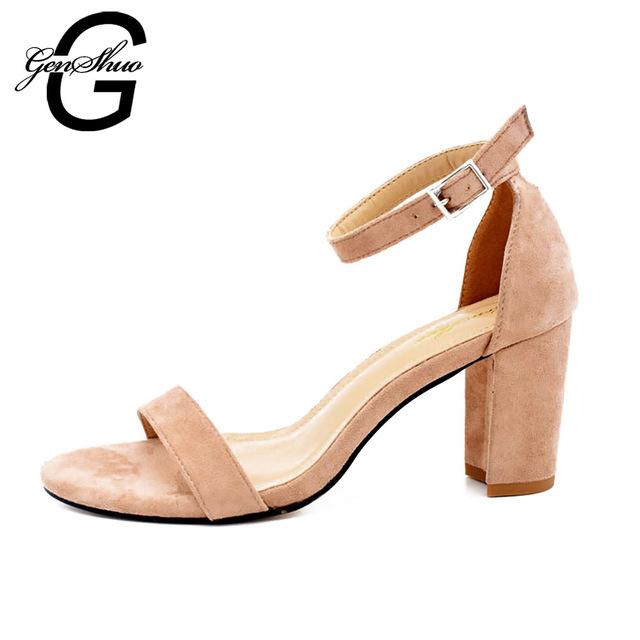 GENSHUO 2017 Ankle Strap Heels Women Sandals Summer Shoes Women Open Toe Chunky High Heels Party Dress Sandals Big Size 42