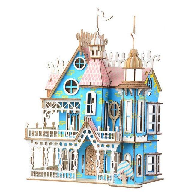 Drewniane lalki meble domowe zabawki DIY montaż domek dla lalek miniaturowy domek dla lalek dla dziewczynek prezenty dla dzieci puzzle zabawki