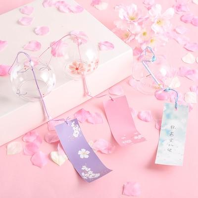 Japanese Sakura Style Glass Cherry Blossom Wind Chime Wind Hanging Bells Doorbell Cute Girl Home Pendant Decoration