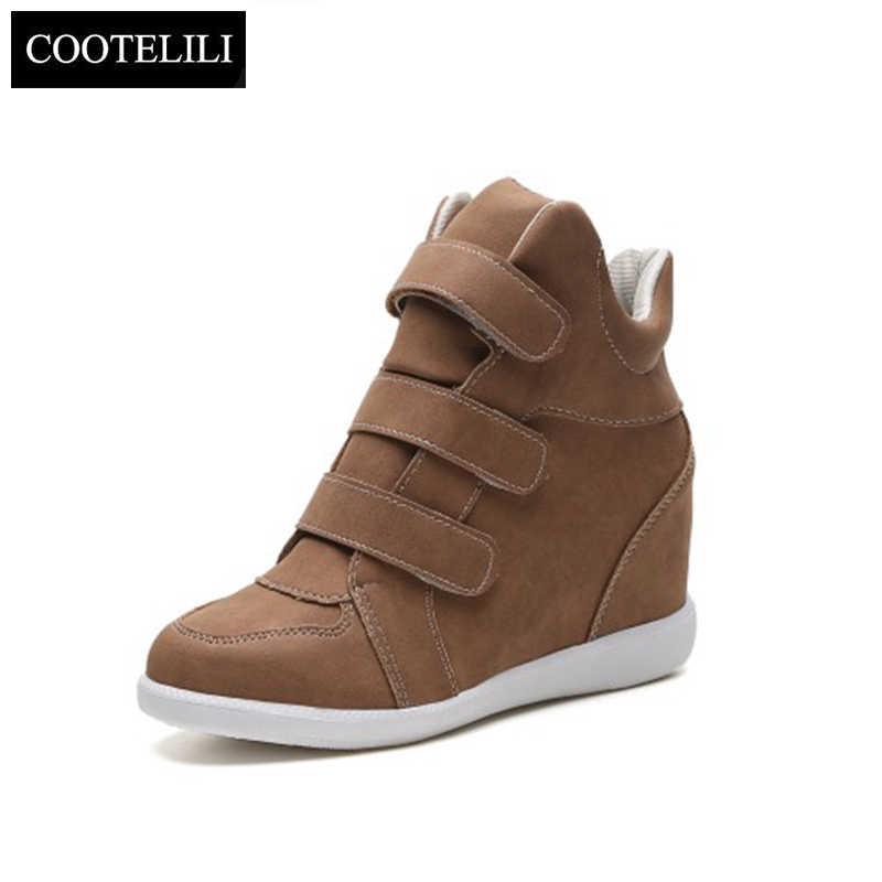 COOTELILI Moda Düz Yüksek Topuklu Takozlar deri ayakkabı Kadın Moda Ayakkabı Marka rahat ayakkabılar Kadın Siyah Kış yarım çizmeler