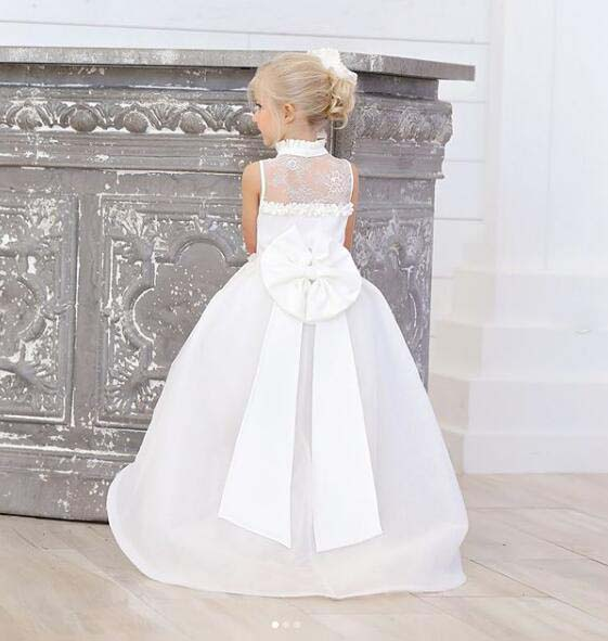 White/ivory lace high low V-neck flower girl dress toddler kids first communion gown for beach wedding and party with bow train smart skirt with high waist lace and bow back