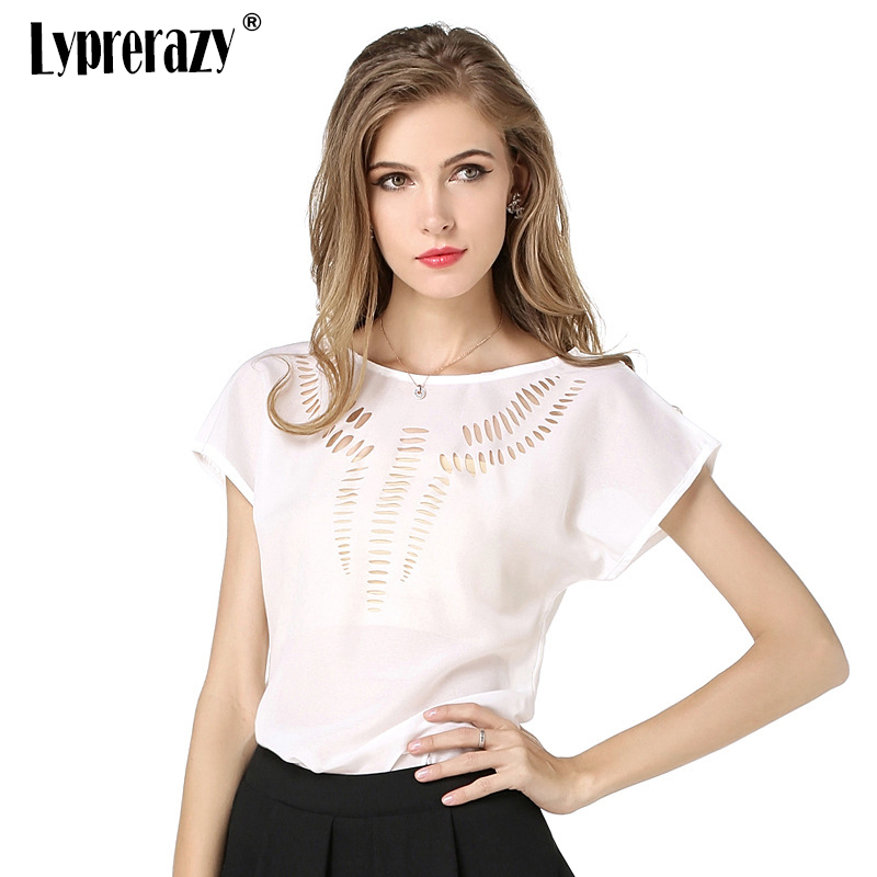 Lyprerazy Women Elegant hollow out chiffon   blouse   O Neck Summer   blouse     shirt   Casual short sleeve White   blouse