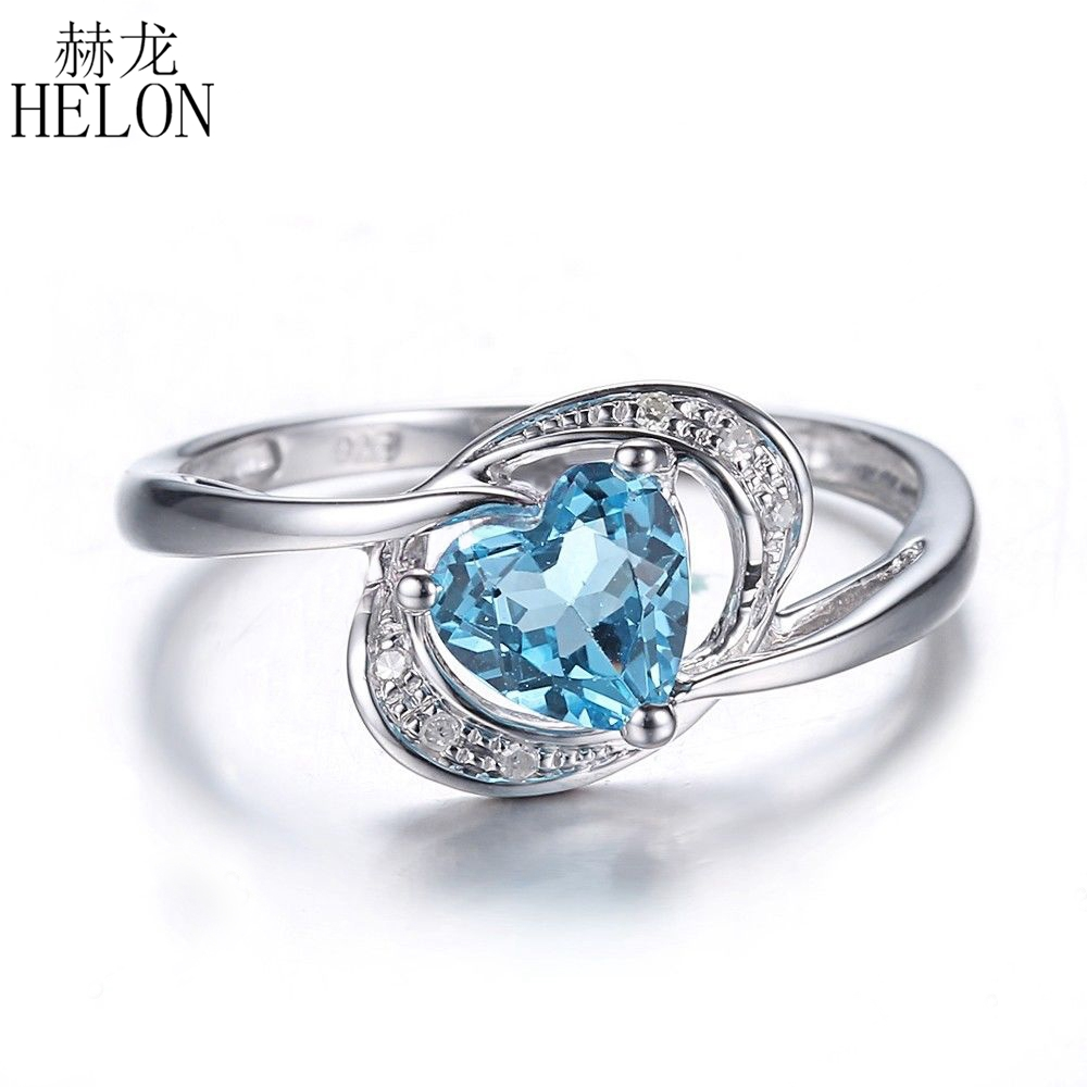 HELON Hug Day!Heart Shape 6x6mm Swiss Topaz Solid 10K White Gold Natural Diamonds Ring Engagement Wedding Fine Ring For Love vostok clock настольные часы vostok clock 120bw коллекция настенные часы
