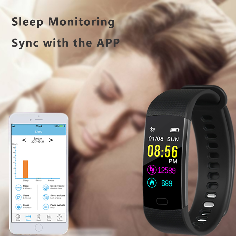 US $11 79 41% OFF|Smart Bracelet Y5 Smart Wristband Heart Rate Blood Oxygen  Sleep Monitor Fitness Tracker Smart Band Color Display Sport Bracelet-in