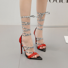 sandals womens shoes high heels gladiator lady 2019 summer madam luxury Sexy thin heel Frenulum of Ankle Stage
