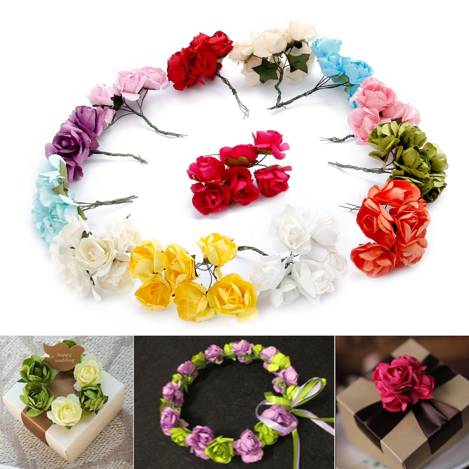 Home & Garden Realistic 24pcs 2.5cm Cheap Artificial Mini Paper Flowers Head Diy Wedding Room Wedding Car Decoration Simulation Flower Ball