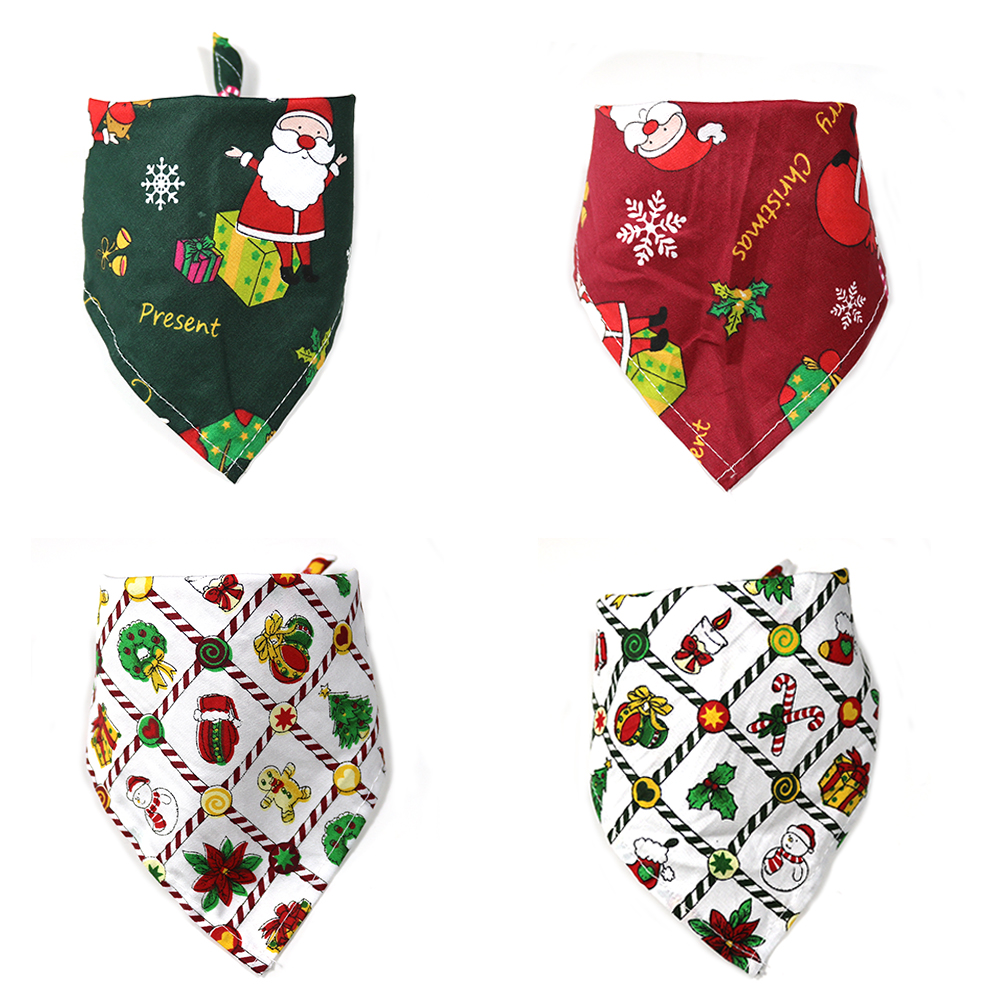 100pcs Christmas Pet Bandanas Handmade Cotton Adjustable Dogs Cat Bandanas Scarf Bowties Santa Claus Snowman Pet