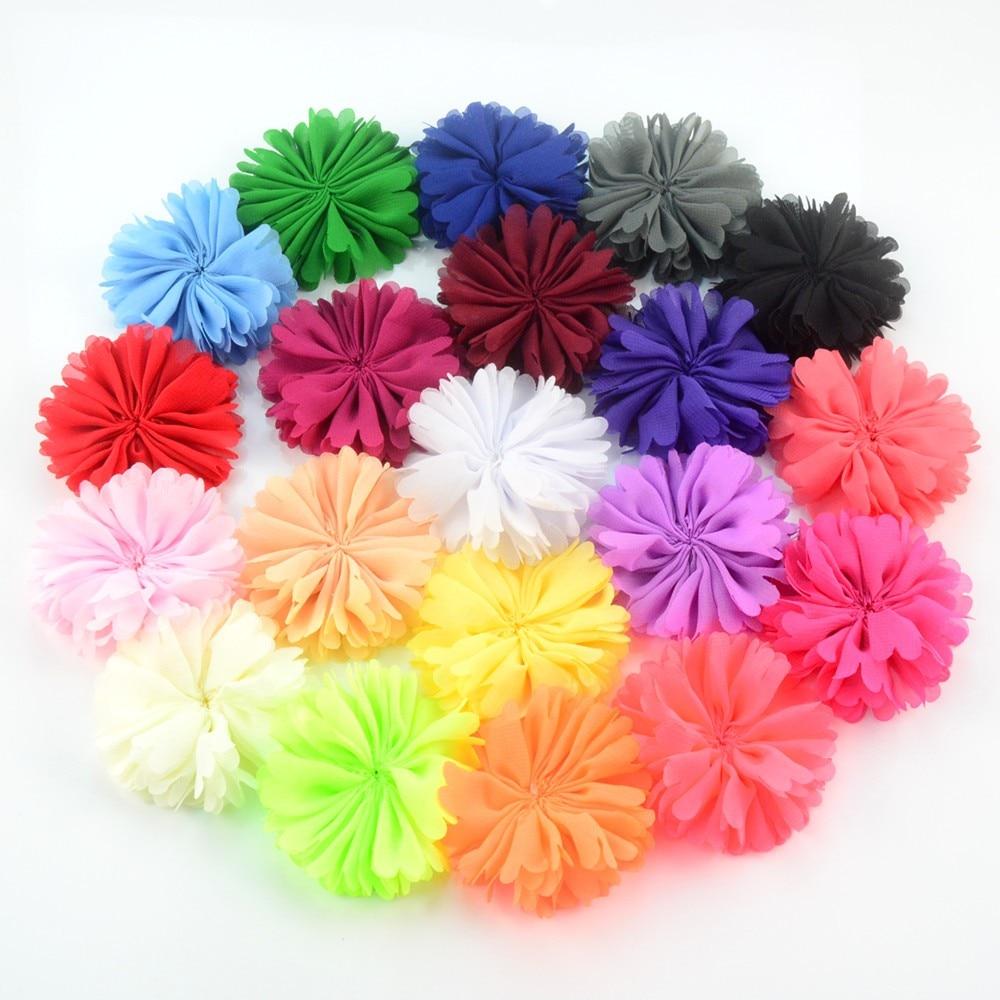 50pcs/lot 20 Color U Pick 6cm Petite Chiffon Ballerina Flowers Unfinished DIY Holiday Wedding Bridal Girl Headband TH220