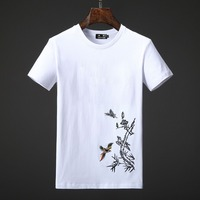 New Fashion Summer T Shirt Men Brand Clothing Embroidery Birds Short T Shirt Male Top Quality