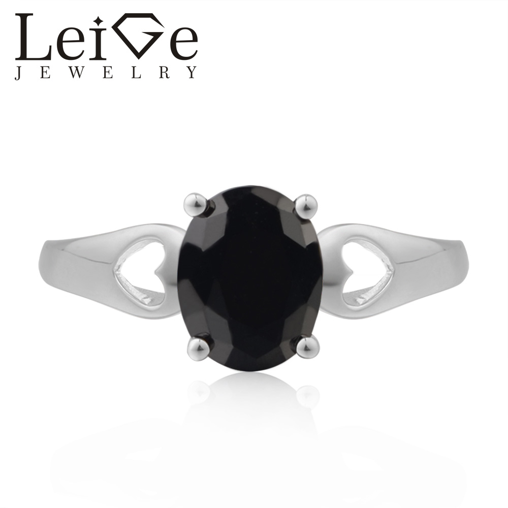 Leige Jewelry Anniversary Ring Real Natural Black Spinel Ring Oval Cut Black Gemstone 925 Sterling Silver Ring Gifts for Women цена