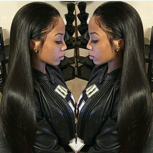 Image 1 - Alicrown Straight Lace Front Human Hair Wigs Free Part Middle Ration Hair Wig 13*4 Pre Plucked Hairline Non  Remy 130Density
