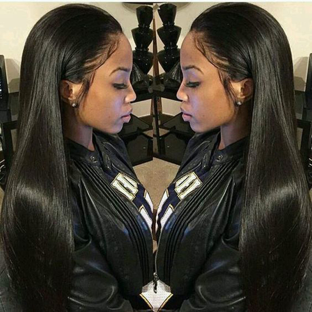 Alicrown Straight Lace Front Human Hair Wigs Free Part Middle Ration Hair Wig 13*4 Pre Plucked Hairline Non  Remy 130Density