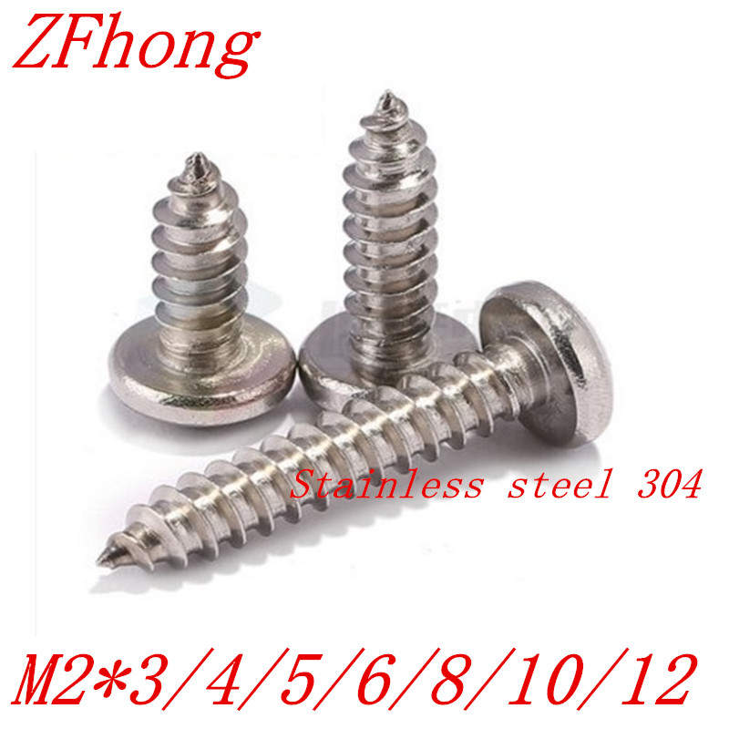 500PCS M2*4/5/6/8/10/12/14/16 2mm stainless steel electronic screw cross recessed phillips round pan head self tapping screw 500pcs lot din7985 stainless steel 304 m3 phillips pan round head machine screw kit m3 5 6 8 10 12