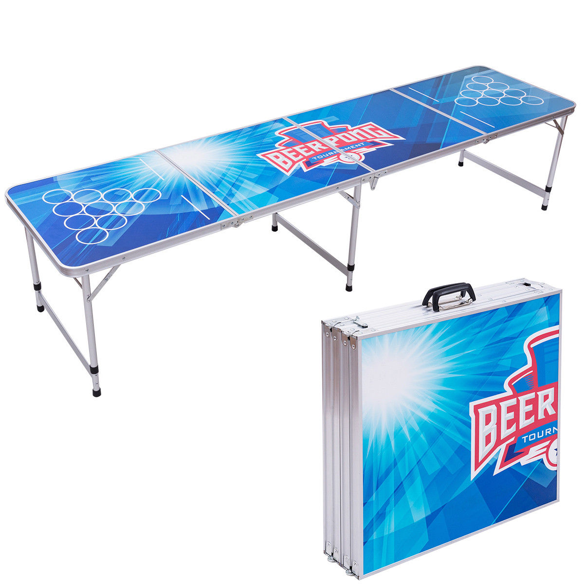 Giantex 8FT Portable Folding Beer Pong Table Party Gaming Picnic Camping Desk Modern Indoor Outdoor Furniture OP3336 fireprofing board office folding table portable indoor outdoor picnic party camping center folding tables with 4 folding chairs