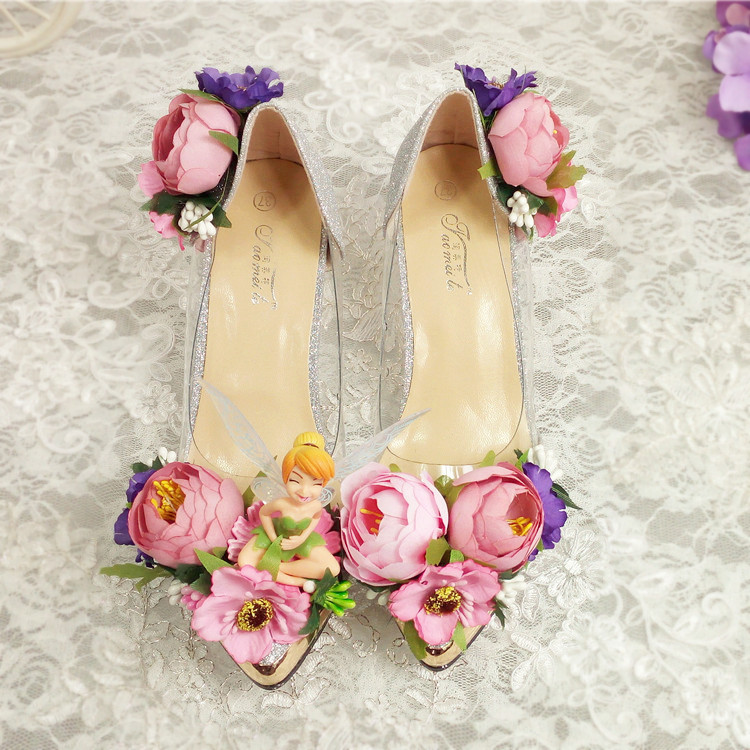 flower wedding shoes in the bride with fairy pointed rhinestone pearl wedding banquet photo show nightclub women's singles roman hollow out the photo shoes fashionable nightclub cos props phantom of the opera queen show low shoes canister boots