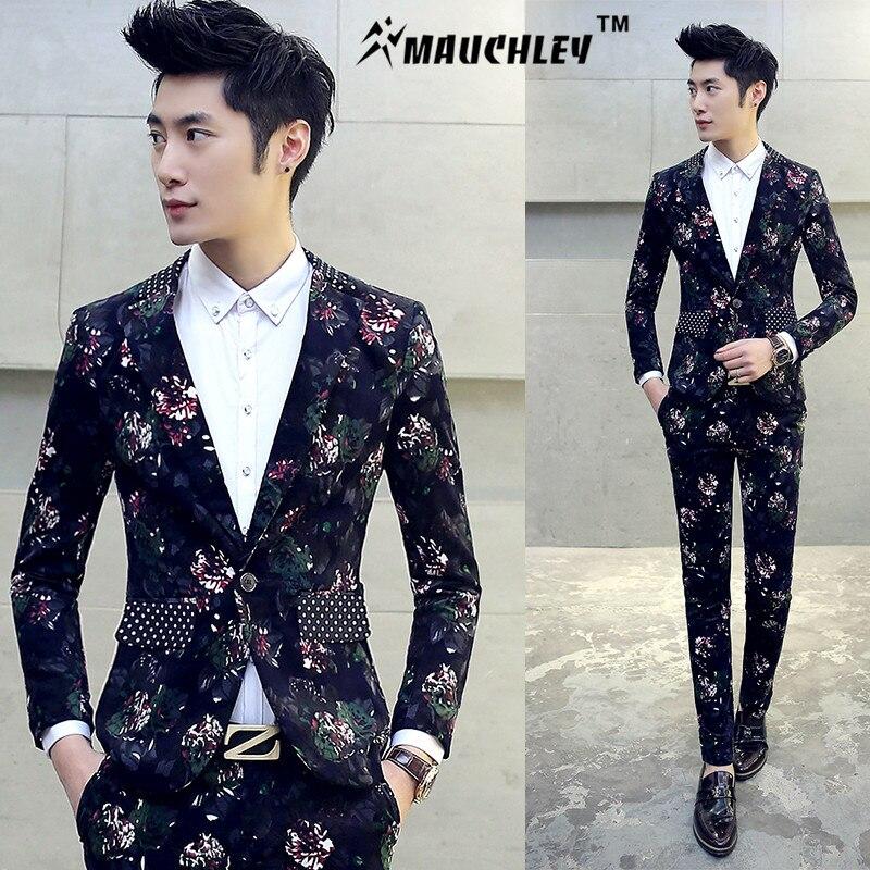 2018 Boys Floral Design Prom Tuxedos Mariage Costume Homme DJ Stage Suits For Men 2 PCS/Set (Jacket+Pants) Slim Suit Plus M-5XL
