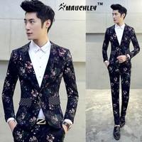 2018 Boys Floral Design Prom Tuxedos Mariage Costume Homme DJ Stage Suits For Men 2 PCS/Set (Jacket+Pants) Slim Suit Plus M 5XL