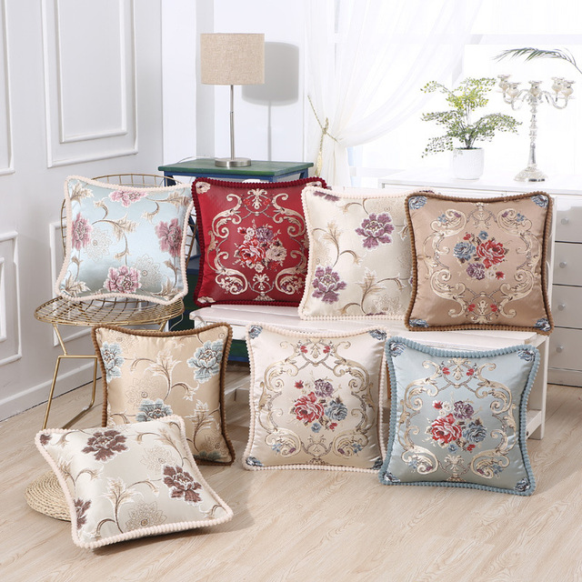 Natural Kiss High Quality European Sofa Cushions Cover Fl Printed Pillow Break Pillowcases Decorative For Home Bedroom