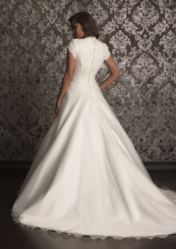 Special Offer Simple A Line Long Modest Wedding Dresses