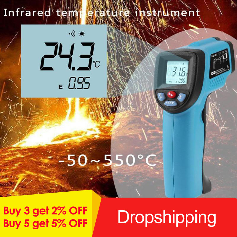 GM550 Digital Infrared Thermometer laser Temperature Gun Pyrometer Aquarium High/Low Temperature Alarm -50~550GM550 Digital Infrared Thermometer laser Temperature Gun Pyrometer Aquarium High/Low Temperature Alarm -50~550