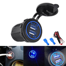 2.1A/1A Led Display Auto USB Car Charger Cigarette Lighter Adapter Socket Outlet Power Charger Car 4.2A 2 USB Ports DC 12V-24v(China)