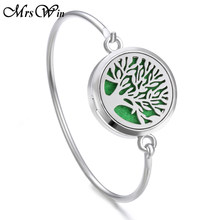 Tree of Life Locket Bracelet Bangle Christmas Stainless Steel Essential Oil Diffuser Perfume Aromatherapy Aromatherapy Bracelet(China)