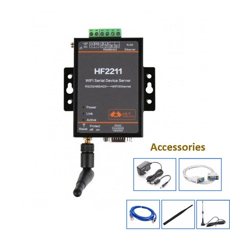 Serveur série RS232/485/422 à Wifi Ethernet rtu équipement de Communication réseau HF2211