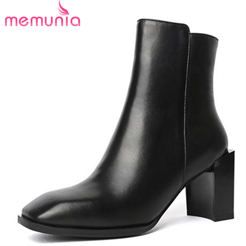MEMUNIA 2018 genuine leather ankle boots for women square toe thick high heels boots elegant autumn winter ladies shoes elegant handmade women boots flower high quality women shoes autumn and winter genuine leather thick heels platform ankle boots