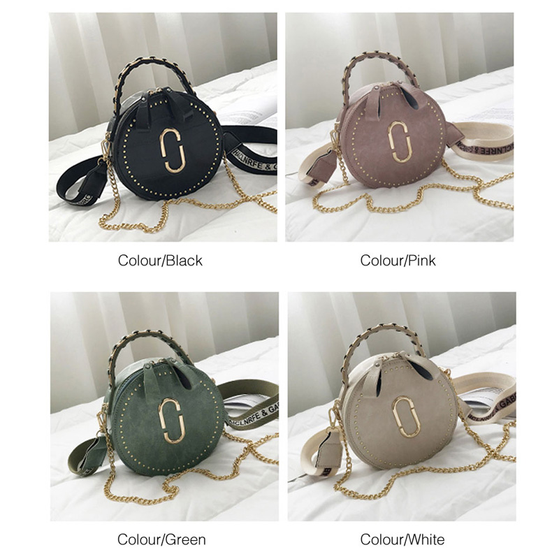 Image 3 - Beibaobao Circular Fashion Bags PU Leather Messenger Women Bags Rivet Crossbody Packages Female Shoulder Bags For Girls-in Top-Handle Bags from Luggage & Bags