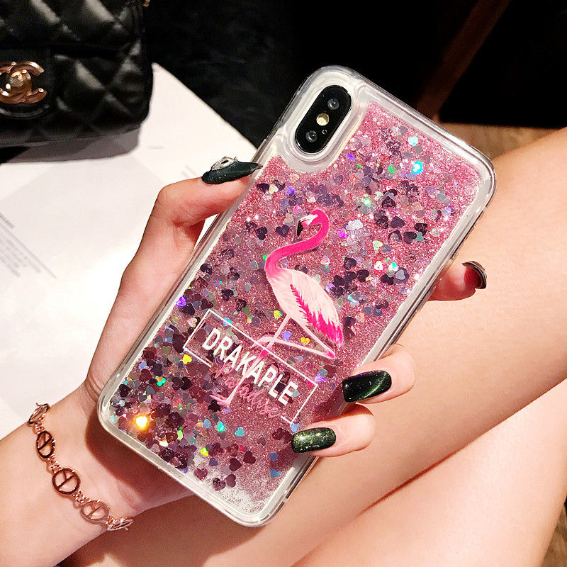 Glitter Liquid Quicksand Soft Case For Samsung S9 S8 Plus Flamingo Quicksand TPU Case For Galaxy S7 S6 Edge Note 9 8 5 4 Capa in Fitted Cases from Cellphones Telecommunications