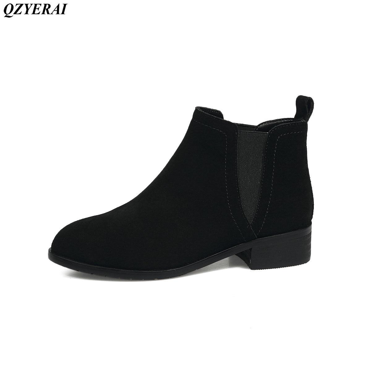 QZYERAI 2018 осень-весна модные ботильоны корова кожи 100 % ботильоны сексуальные ботинки Размер 34-43