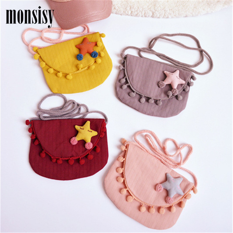 Monsisy Lolita Baby Gril Children Coin Purse Cute Star Change Purse Wallet Kids Baby Tassel Handbag Coin Pouch Small Bag Gift