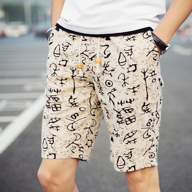 Drawstring Shorts Mens Cotton and Linen Fabrics 2018 Summer Men Flower Shorts Fashion Loose Leisure Male Knee Length ...