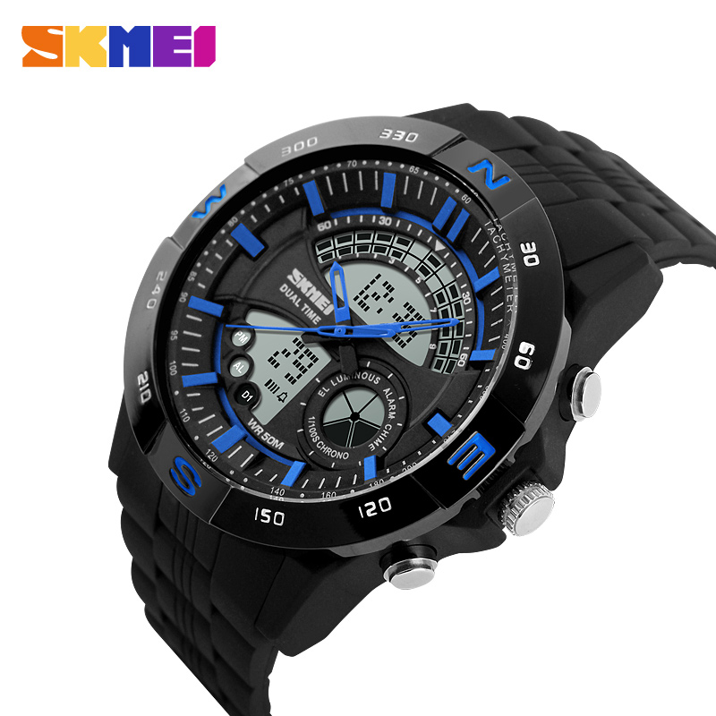 Men sport luxury Tachymeter watch silicone LED luminous 1/100s chrono alarm wristwatch with compass quartz watches digital saat 2016 fashion square electronic led watch ohsen brand dual digital and analog men s alarm sport quartz wristwatch gift ad0518