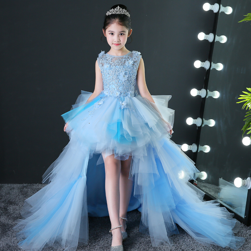 Blue Luxury Flower Girl Dresses for Wedding Detachable Long Trailing Princess Dress Ball Gown Appliques Kids Evening Gowns B116 real picture kids evening gown luxury flower girl dresses for wedding long trailing princess dress ball gown beading dress