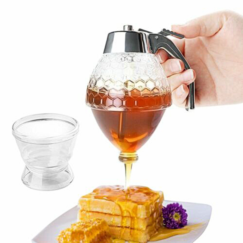 High Glass Crystal Honey Dispenser Transparent Honey Storage Container Bottle DOG88
