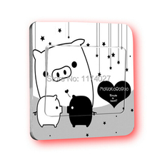 Free Shipping Creative Lovely Pig Switch Stickers Wall Stickers Home Decoration Bedroom Parlor Decoration