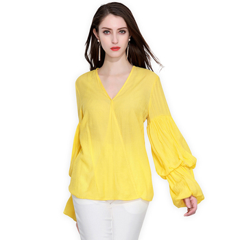 Long Sleeve Solid V-neck Loose Chiffon Blouses